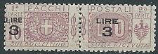 1923-25 REGNO PACCHI POSTALI SOPRASTAMPATO 3 SU 10 LIRE MNH ** - CZ18-9
