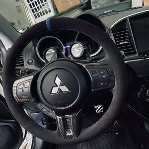 BLUE v2 Stitching Lancer EVO X EVO 10  Steering Wheel Wrap Suede