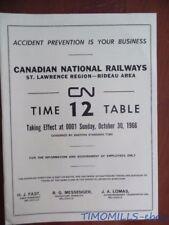 1966 Canadian National Railways Employee Timetable 12 St.Lawrence Reg. Rideau