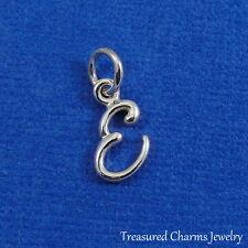925 Sterling Silver Letter E Charm - Initial Script Cursive E Alphabet Charm NEW