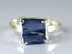 Ceylon Blue Sapphire 13.40 Ct Gems Rough Ring in 925 Silver Natural Certified