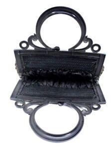 Antique Purse Frame Plastic  Signed LG Marque Deposee  Flowers  Evening Bag Art Deco Handbag Handle Bag