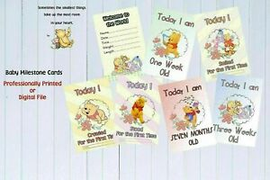 """Baby Milestone Cards Winnie the Pooh """"MONTHS ONLY"""" Pack of 16 Unisex Baby Shower"""