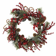 "Artificial 24"" Assorted Red Berry Pine & Pine Cone Christmas Holiday Wreath"