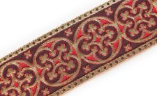 "2.25"" Wide Vestment Jacquard Trim. Pugin Antique Reproduction. Gold on Red 3 Yds"