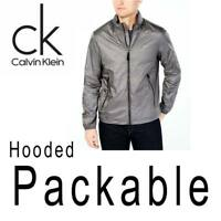 MENS CALVIN KLEIN NYLON RIPSTOP JACKET FULL ZIP HOODED PACKABLE REPEL 2XL $145