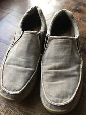 Men's Sketchers Canvas/Leather Loafers Sz 12 RelaxFit/Memory Foam EU 46 Tan