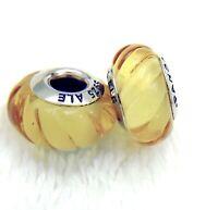 2 PANDORA Silver 925 ALE Murano Charm Swirled Jelly Yellow Beads #380M