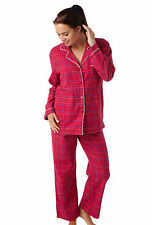 Ladies Womens 100% Brushed Cotton Red Check Pyjama Set 10-12,14-16,18-20