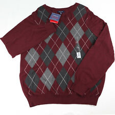 NWT Croft & Barrow Men's L Burgundy Gray Diamonds Cotton V Neck Sweater Ret.$50_