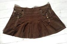 Brown Cord Corduroy Mini Skirt Kilt Pleat 12 14 40 Boho Steampunk Grunge Strap