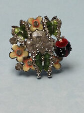 LADYBUG  BUTTERFLY  FLOWERS  PRETTY ENAMEL SILVER RING  SPARKLING STONES  SIZE 7