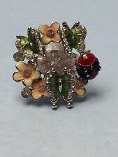Ladybug Butterfly Flowers Pretty Enamel Silver Ring Sparkling Stones Size 7