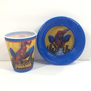 Marvel Spiderman Plastic Cup Bowl Set Hologram Toddler Kids Blue Jay Franco Sons