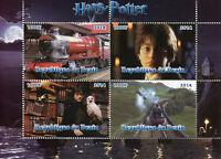 Benin 2014 CTO Harry Potter Hogwarts Express 4v M/S II Trains Owls Rail Stamps