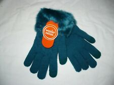 Wonder Nation Girls Faux Fur Lined Gloves Antique Teal New Super Warm