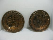 Vintage Coppercraft Guild Copper Wall Hanging Plate Fireplace Scene Set of 2
