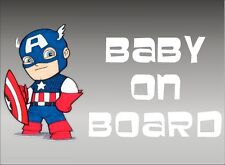 Captain America Baby on Board / Marvel Comics / Vinyl Vehicle Kids Decal Graphic