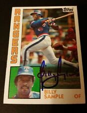 Billy Sample Rangers 1984 Topps #12 Blue Ink Authentic Signed Autograph JG2
