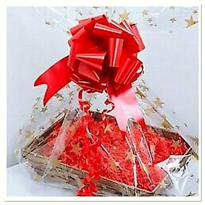 💜L-xx Christmas Cellophane Hamper Wrap Bag & Bow Gifts Mums Baby Bouquet