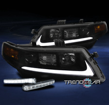 FOR 2004-2008 ACURA TSX CL9 LED BAR PROJECTOR BLACK/SMOKE HEADLIGHT LAMP+DRL KIT