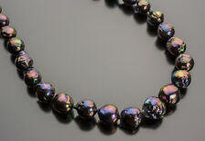 Peacock Purple Baroque Freshwater Pearl Necklace 21 Inch Premier Pearl Quality