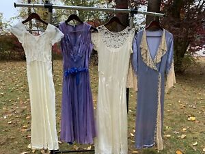 Vintage 30s Lace Satin Dresses Robe AS IS FLAWED Lot Of 4 Blue White Fancy Small