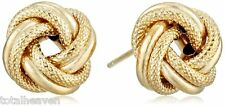 "CLASSIC Italian 1.9g Solid 14K Yellow Gold LOVE KNOT Stud Earrings 14mm=0.55""BIG"