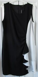 Luca Vanucci Black/White Dress Ruched Side and Ruffle Size Small UK10-12 BNWT
