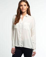 New Womens Superdry Ava Boyfriend Shirt Winter Ecru