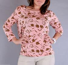 Geblümte taillenlange Damen-Shirts mit Rundhals-Ausschnitt
