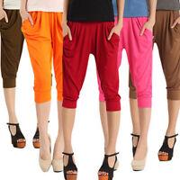 Women Sports Jogging Elastic Waist Chiffon Capris Cropped Trousers Harem Pants *