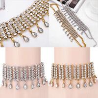 Women Fashion Statement Rhinestone Crystal Choker Chunky Bib Collar Necklace
