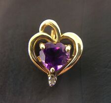 14K GOLD HEART SHAPE PENDANT/CHARM WITH HEART SHAPE AMETHYST AND ROUND DIAMOND