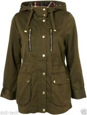 Topshop Green Parka With Check Hood Size 6