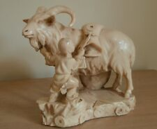 Vintage Chinese Ram/Goat with Small Child Large Figurine