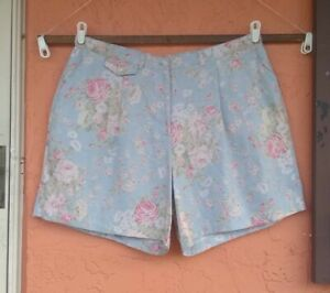 NWOT Vintage Ralph Lauren High Waist Floral 100% Linen Shorts Womens 22W Plus