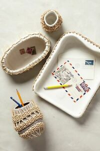 Anthropologie Braided Rattan Desk Collection Tray
