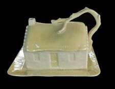 BELLEEK COTTAGE COVERED BUTTER/CHEESE SHINY PORCELAIN DISH 3RD GREEN MARK MINTY!