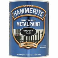 NEW HAMMERITE DIRECT TO RUST METAL PAINT - SMOOTH BLACK - 5 LITRE - 5084867