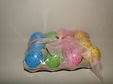 12 Decor Speckled Eggs In Carton, Green, Pink, Blue,Yellow, Grade A Size, Easter