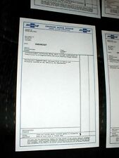 GM CHEVROLET WINDOW PRICE SHEETS, EARLY,  RESTORE, 5 PCS