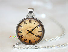 Old clock Steampunk watch dome Tibet silver Chain Pendant Necklace wholesale