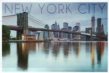 New York City, Brooklyn Bridge & Freedom Tower Being Built, NY - Modern Postcard