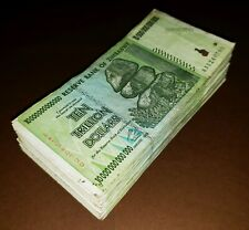 100 X 10 TRILLION DOLLARS ZIMBABWE BANKNOTES 2008 AA BUNDLE CURRENCY AUTHENTIC