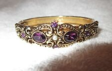 Avon Victorian Hinged Bangle Bracelet Amethyst Glass Faux Pearl Signed Superb!