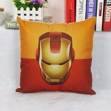 Cotton Linen Iron Man Throw Pillow Case Cushion Cover sofa pillowslip