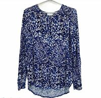 Witchery Womens Blue Spotted Long Sleeve Blouse Size XS