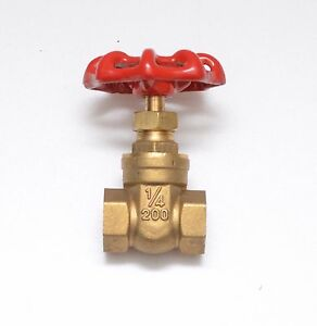 Brass Gate Valve 1/4 Female NPT 200 PSI WOG Water Oil Gas Bi-Directional