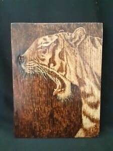 Yawning Tiger - hand made, wood burnt picture on oak